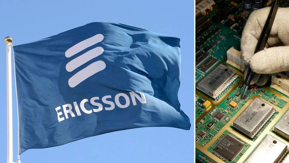 Ericssonflagga och kretskort