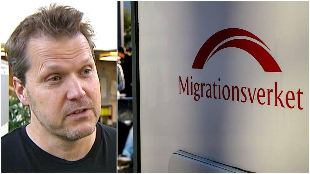 Medelåldersman och skylt på Migrationsverket