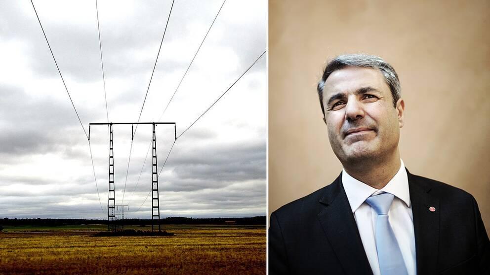 Ibrahim Baylan och en elstolpe.