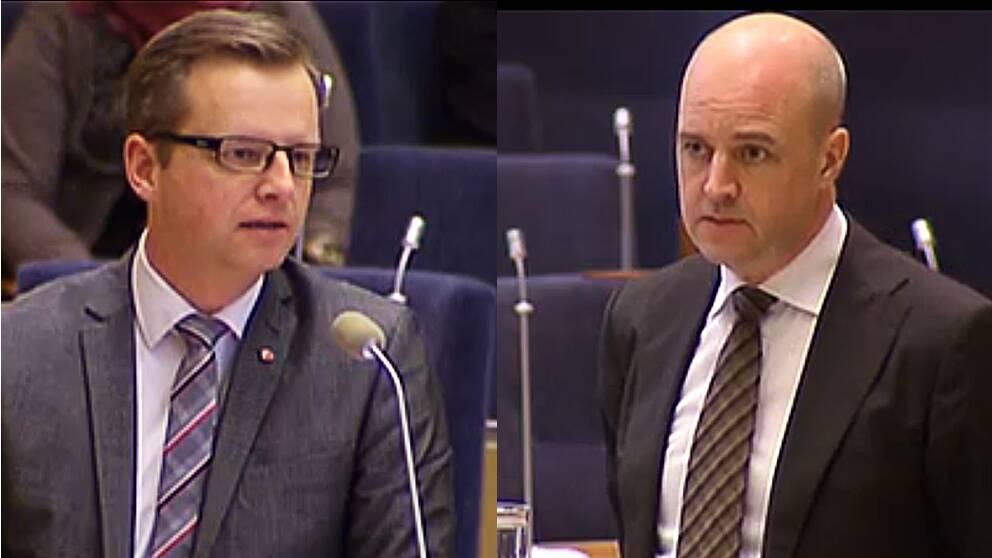 Mikael Damberg och Fredrik Reinfeldt vid riksdagens frågestund.