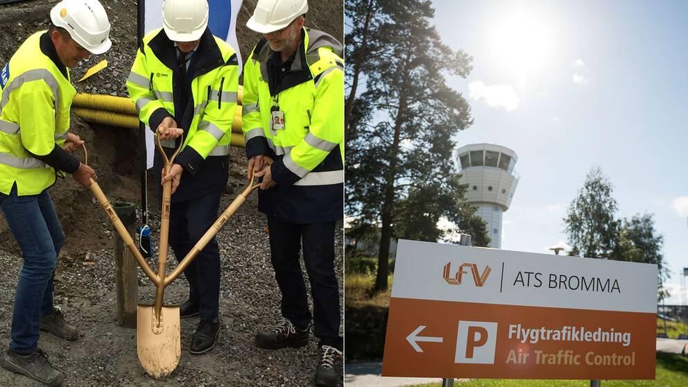 Här tas första spadtaget för en ny ankomsthall på Bromma flygplats.