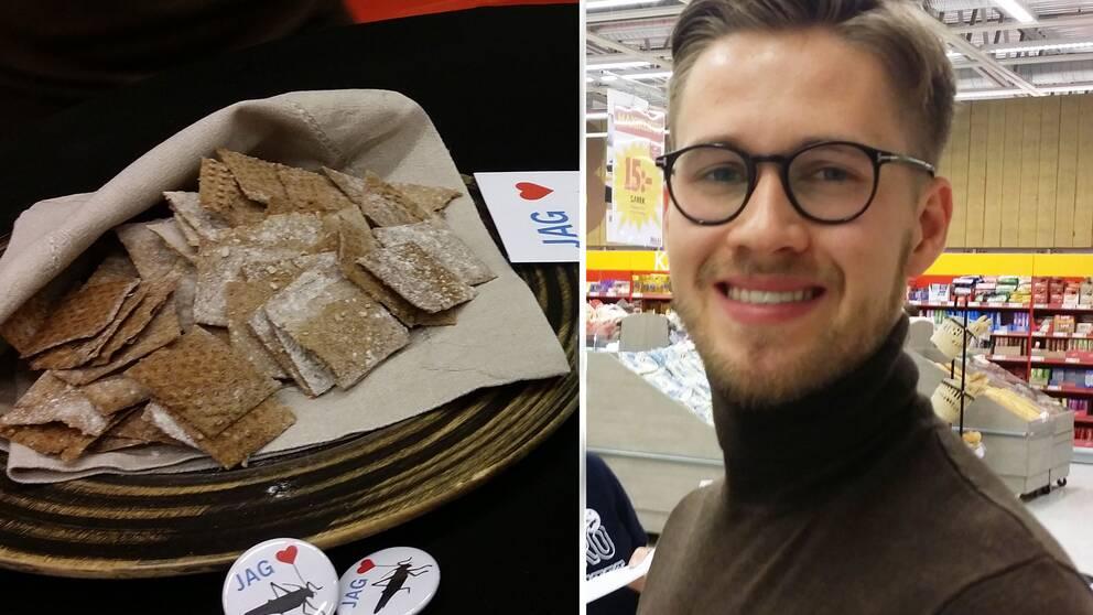 Knäckebröd med syrsor i montage med Ola Albrektsson