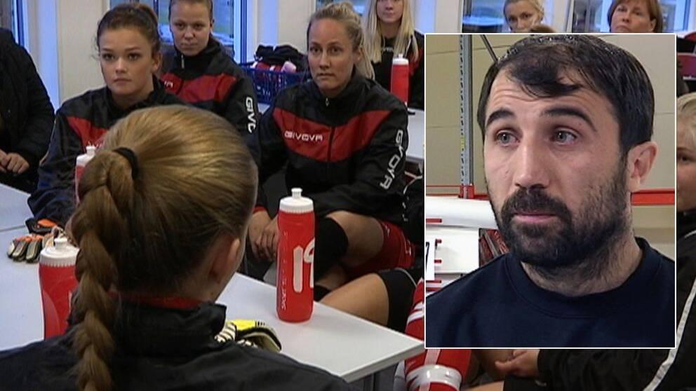 Damerna i Bondsjöhöjdens IK stödjer Sergiu Tanurcov.