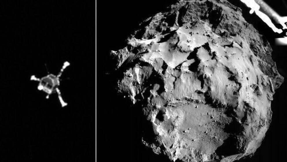 Rymdsonden Rosetta och en bild på kometen 67P Tjurjumov-Gerasimenko.