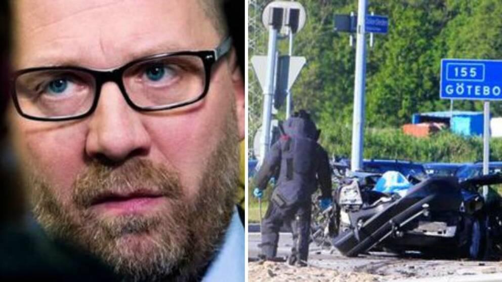 Bilder från skjutningen på Vår Krog och bilbomben i Torslanda. Robert Karlsson i mitten.