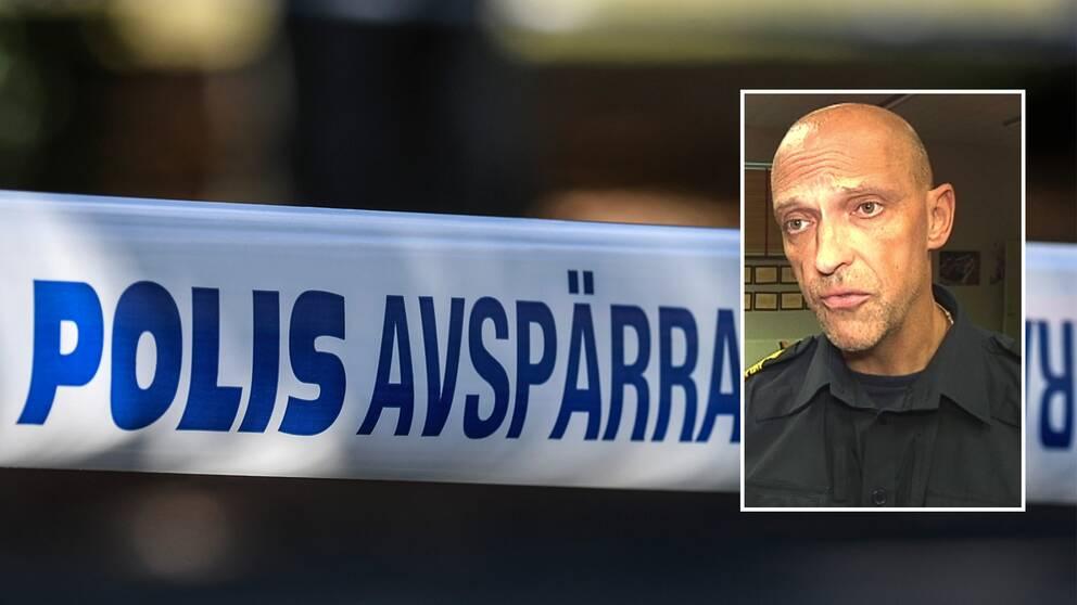 Montage, polisens avspärrningsband med en bild på Jale Poljarevius, chef för lokalpolisområdet Uppsala Knivsta.