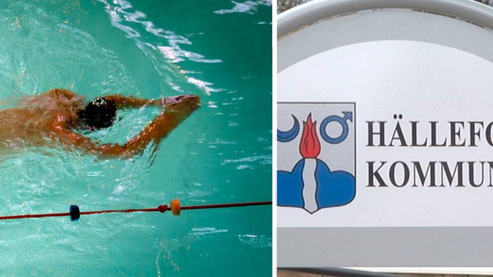 Person simmar under vattnet, Kommunskylt Hällefors i montage