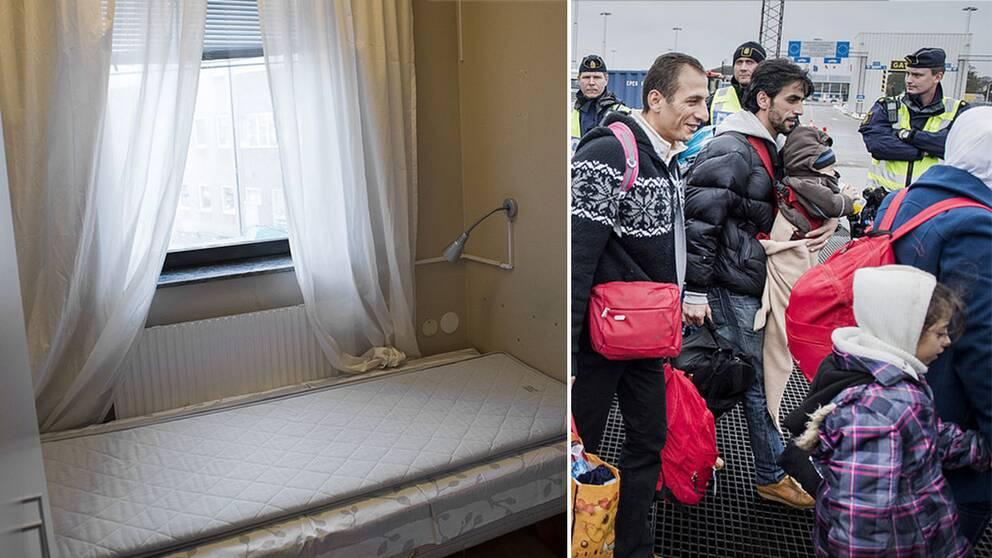 Tom säng i asylboende och flyktingar.
