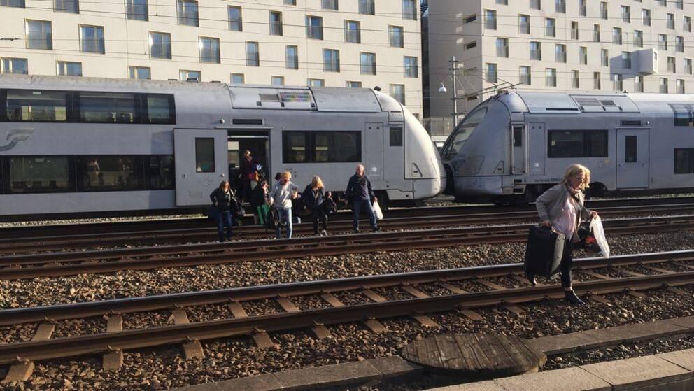 Tågevakuering Göteborgs central elfel