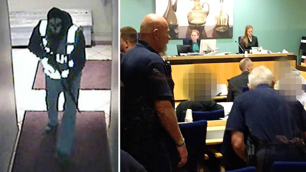 Till vänster: Övervakningsbild på maskerad man med reflexväst och automatvapen, på väg in på krogen. Till höger: Bild från rättssalen. Jurister vid ett podium, poliser och tre av de tilltalade vars ansikten blurrats.