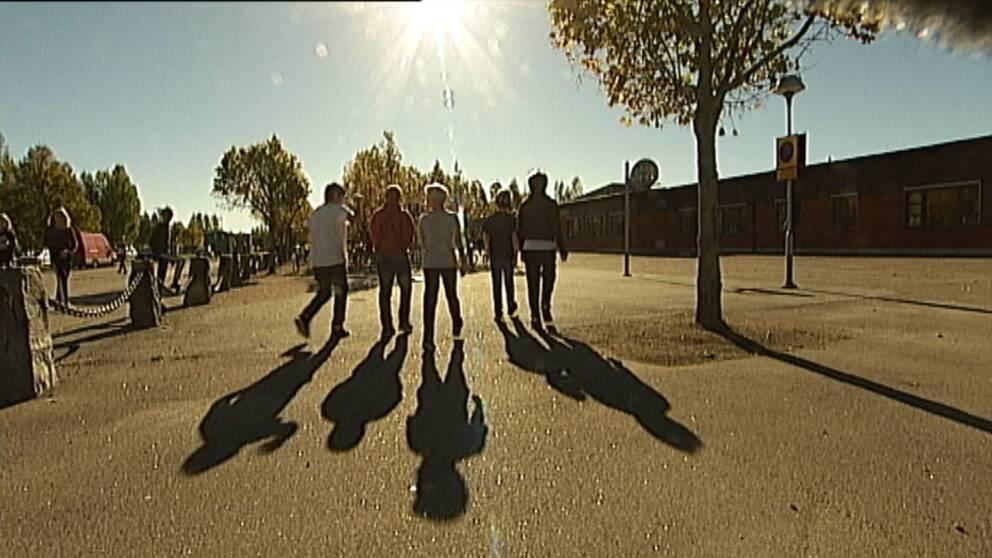 Elever i motljus på skolgård