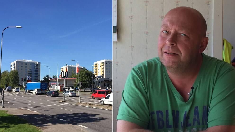 Ett montage av två bilder med Ekebykorsningen och Thomas Koskela.