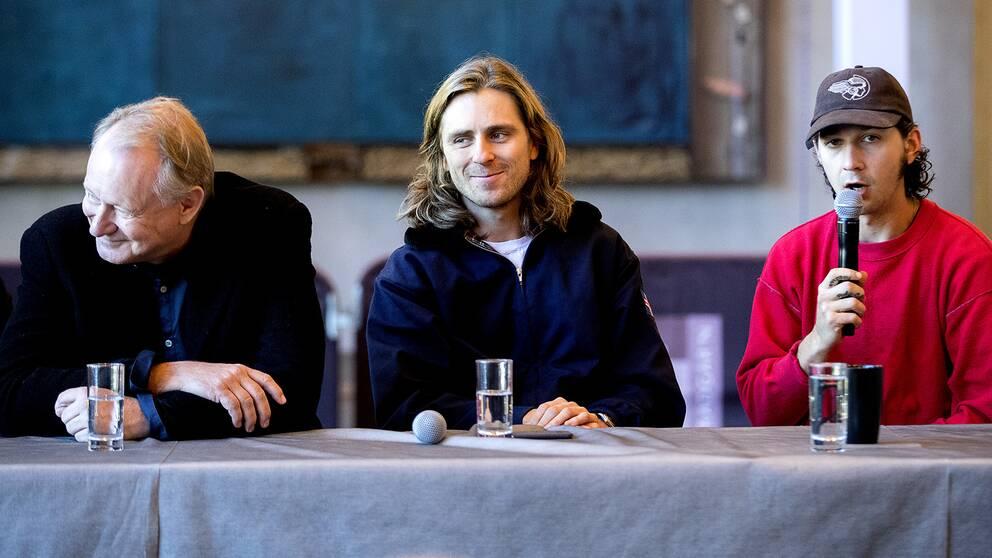 Stellan Skarsgård som Lennart Bergelin, Sverrir Gudnarson som Björn Borg och Shia LaBeouf som John McEnroe i nya filmen om Björn Borg som nu spelas in i bland annat Södertälje.