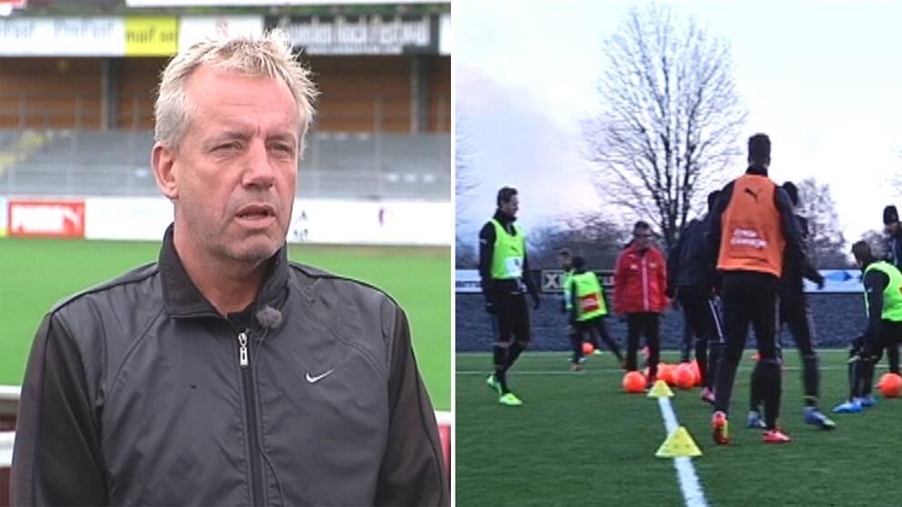 Mjällbys sportchef Hans Larsson och mjällbyträning.