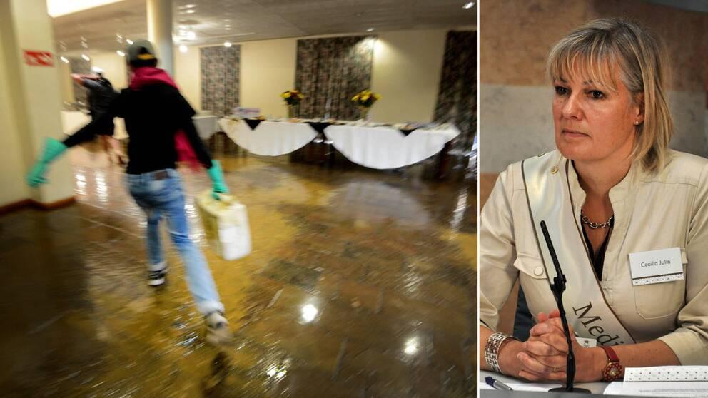 Cecilia Julin (till höger) befann sig inne i en lokal på universitetet i Kapstaden där protesterande stundenter under måndagen slängde in avföring.