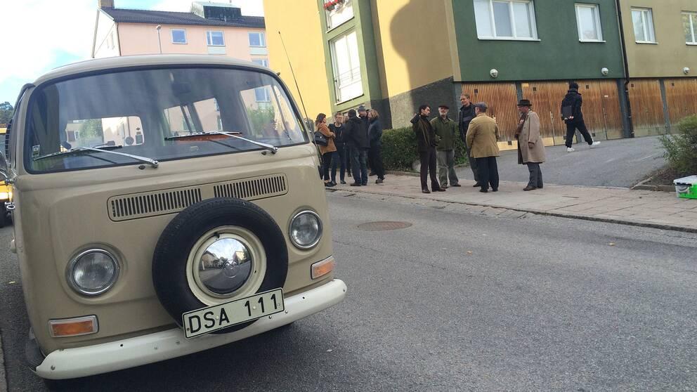 """Inspelning av """"Borg vs McEnroe"""" på Södertäljes gator."""