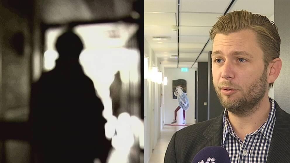Till vänster en bild på en silhuett, till höger biträdande skolchef Johan Lindeberg