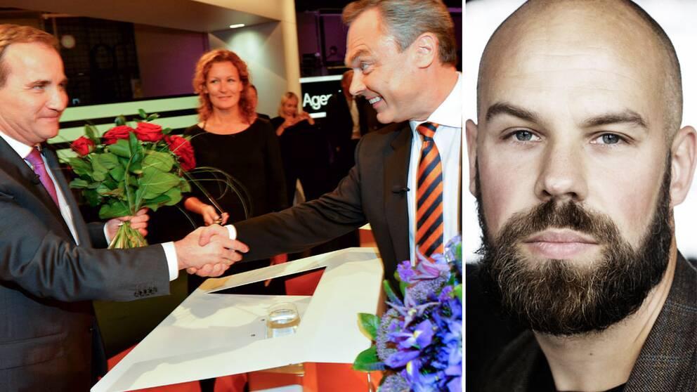 Socialdemokraternas partiledare Stefan Löfven skakar hand med Folkpartiets partiledare Jan Björklund och Daniel Suhonen.