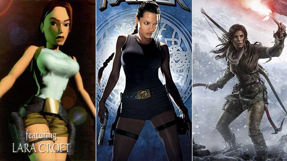 """En ikons evolution: Lara Croft i det allra första Tomb Raider-spelet 1996, Angelina Jolies porträttering i filmen från 2001 och Croft idag, i 2015 års """"Rise of the Tomb Raider""""."""