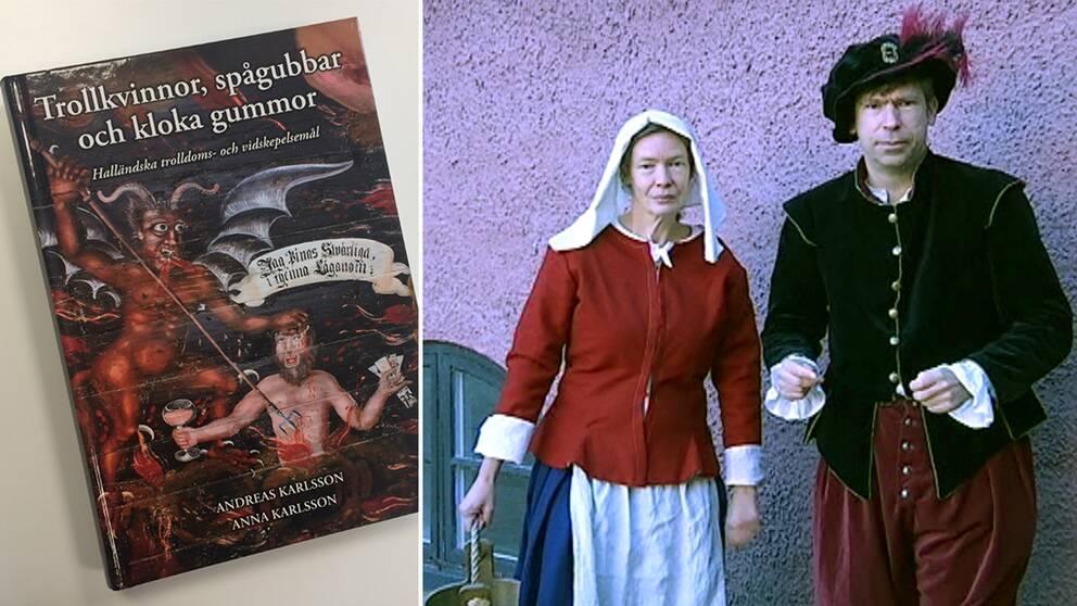 Släktforskarna och syskonen Anna och Andreas Karlsson i 1600-talskläder