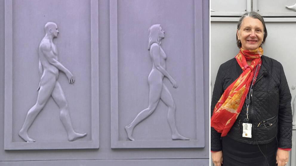 Montage. Fasadplattorna på det nya huset Eldaren i Uppsala är en man och en kvinna avbildade. Porträtt på Anna Söderbäck,