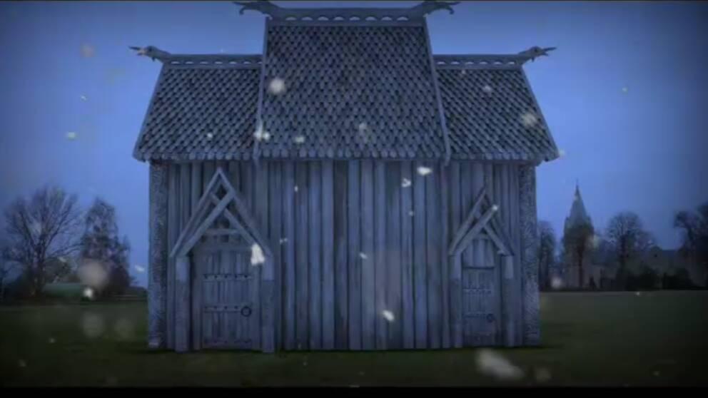 En bild på det tempel där gudadyrkan lär ha ägt rum år 200-900 i södra Skåne.