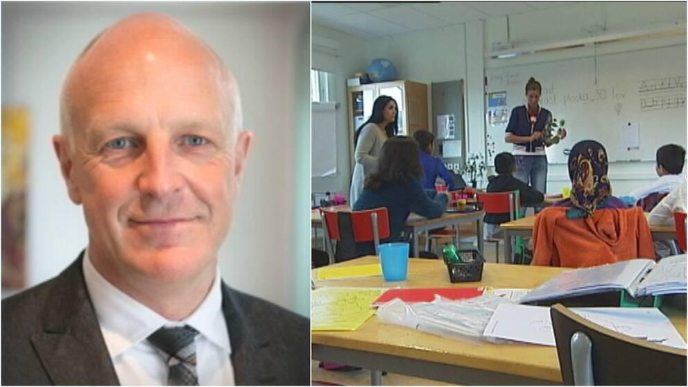 Montage: Magnus Önnestig, och ett klassrum på ett asylboende