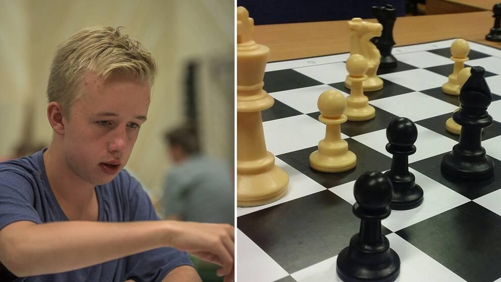 Kille som spelar schack, schackbräde