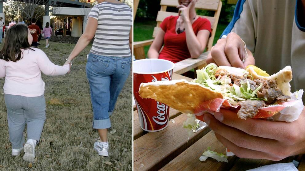 En överviktig flicka och en bild på en kebab.