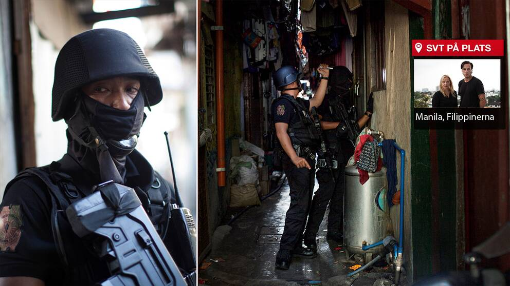 SVT:s Asienkorrespondent Susan Ritzén och Korrespondentfotograf Nicolai Zellmani har i flera dygn följt president Dutertes drogkrig i Filippinerna. På 100 dagar har 3625 människor dödats, nära hälften har skjutits av polisen vid polisoperationer.