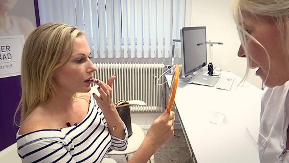 Jennica Landén går igenom hur hon vill att läpparna ska se ut