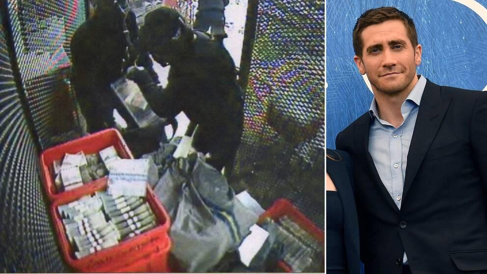 En bild från G4S övervakningskamera under rånet 2009. Till höger skådespelaren Jake Gyllenhaal.