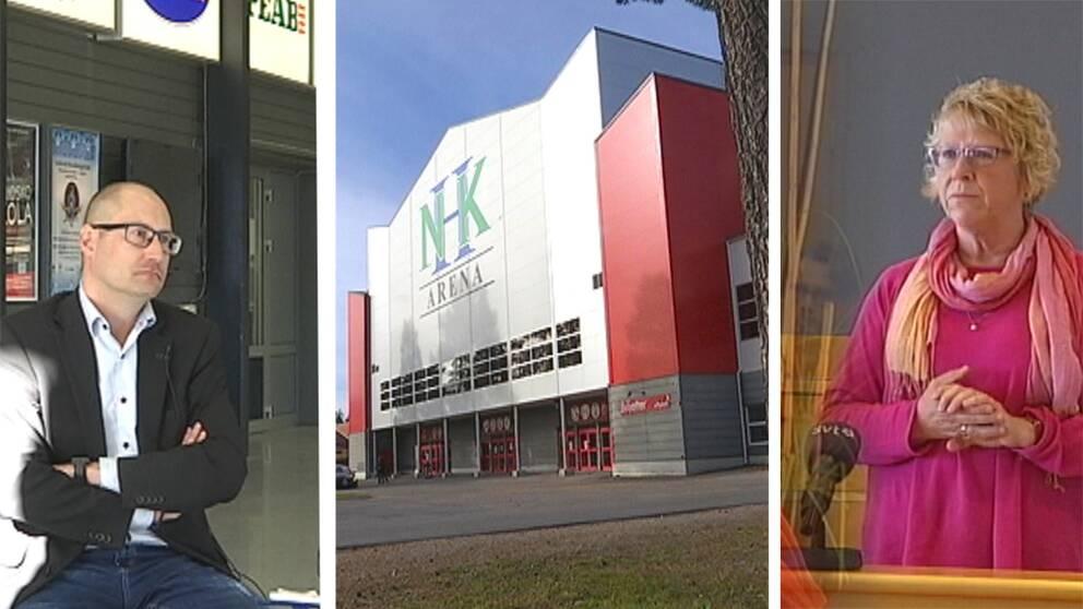 Tre bilder i en: Magnus Sjödin, NHK arena Timrå, Ewa Lindstrand.