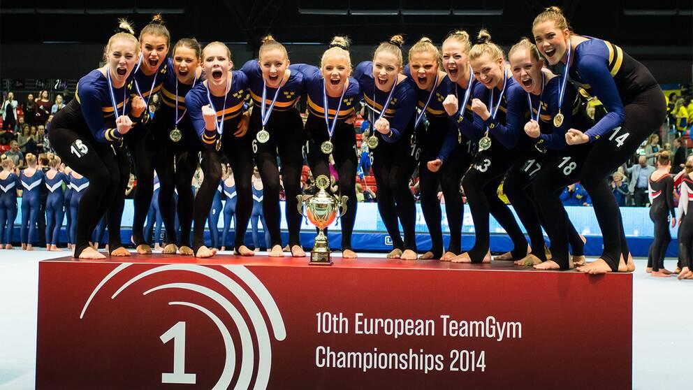 Svenskt EM-guld i truppgymnastik 2014