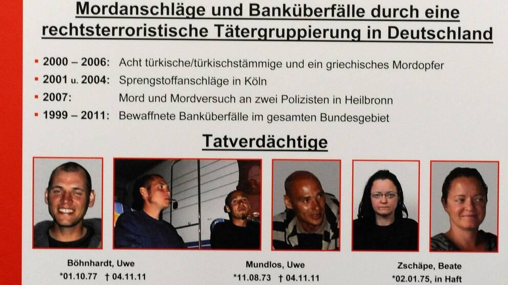 Polisens efterlysning av medlemmarna i nazistgruppen NSU. Uwe Böhnhardts porträtt är längst till vänster. Arkivbild.