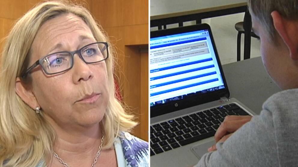 politiker Helene Odenljung och en skolelev vid en dator