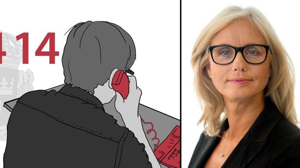 En illustrerad bild av en person som ringer i telefon och en porträttbild av polisenhetschefen Anna-Karin Gustafsson Åström.