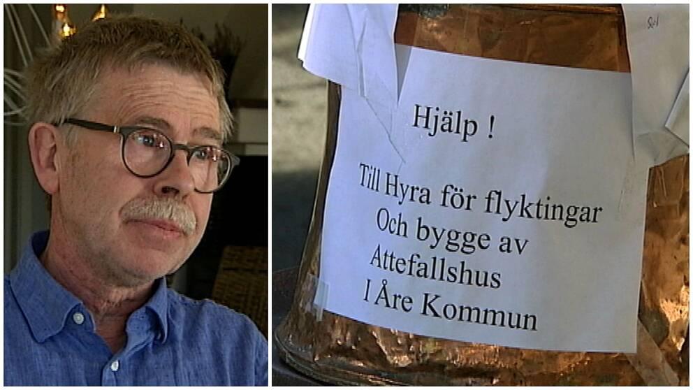 """Man med glasögon och bild på en insamlingsbössa med texten """"Hjälp! Till hyra för flyktingar och bygge av Attefallshus i Åre kommun"""""""