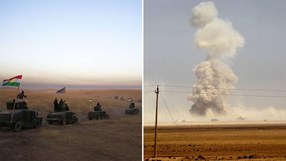 Kurdiska Peshmergas styrkor utanför Mosul.