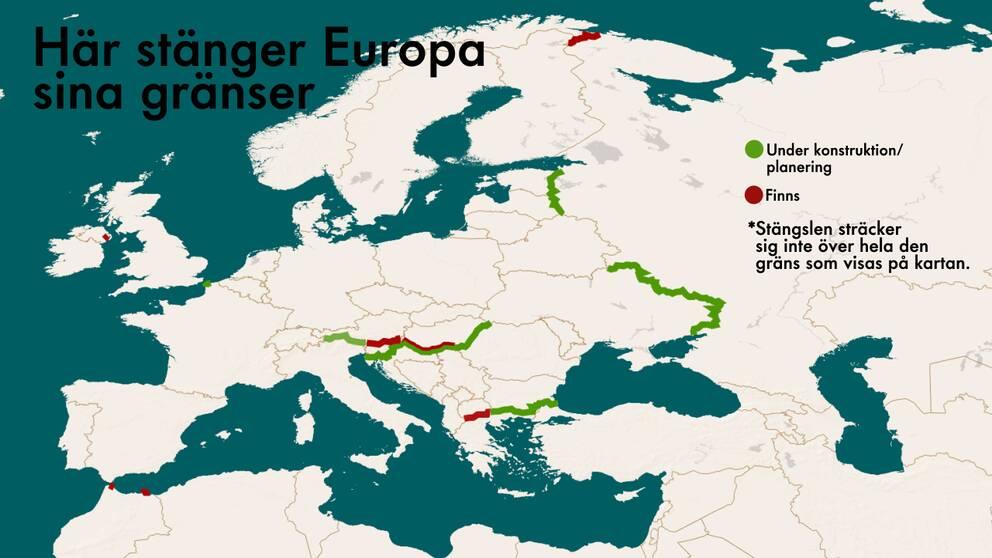En karta över de europeiska länder som satt upp stängsel eller planerar att göra det.
