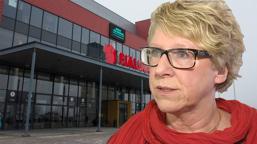 Montage Ewa Lindstrand (S) kommunalråd Timrå och Fjällräven arena