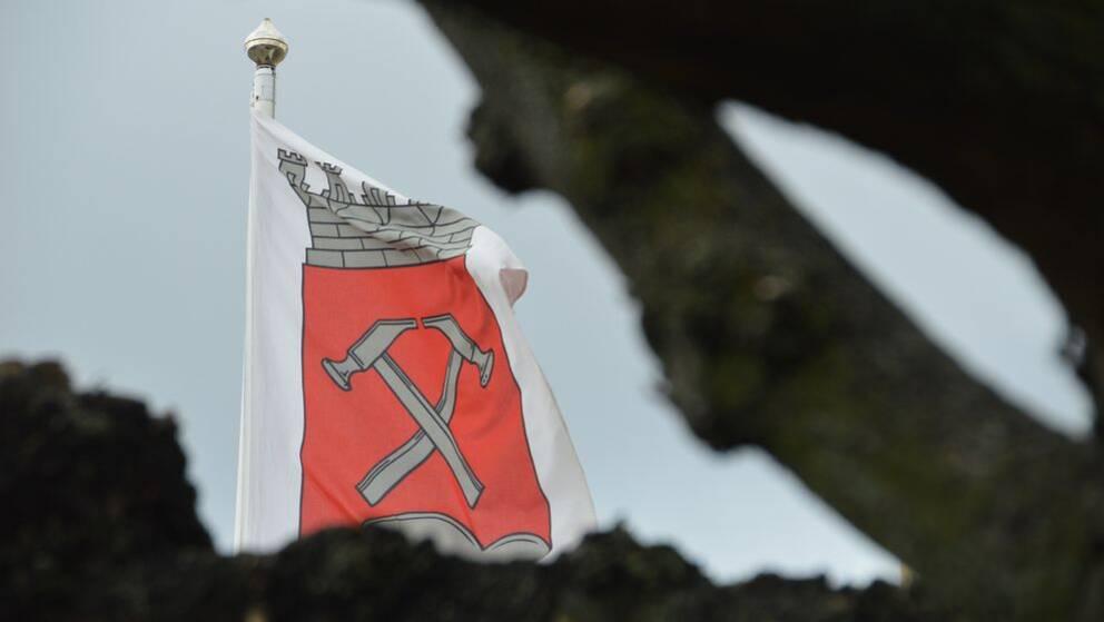 Kumlas kommunvapen på flagga bakom träd. Kumla kommun.