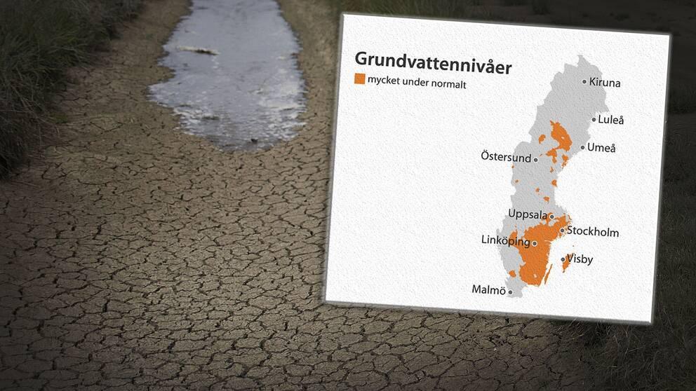 Mycket låga vattennivåer i Uppland efter uteblivet regn i september och oktober.