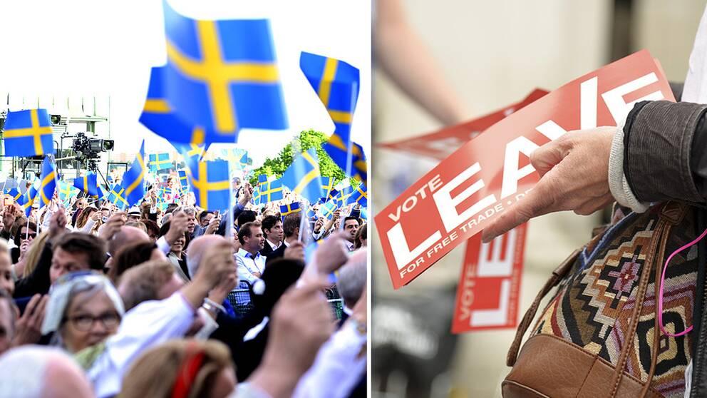 Människor i ett folkhav som viftar med flaggor.