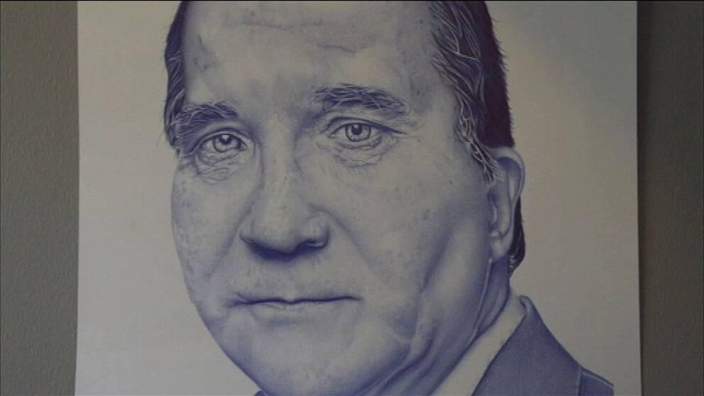 Teckning av statsminister Stefan Löfven gjord av Mohsen Ahmadi