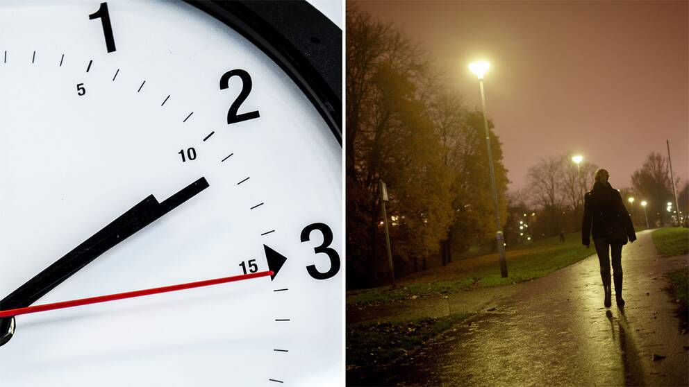 Bild på klocka och kvinna på gångväg.