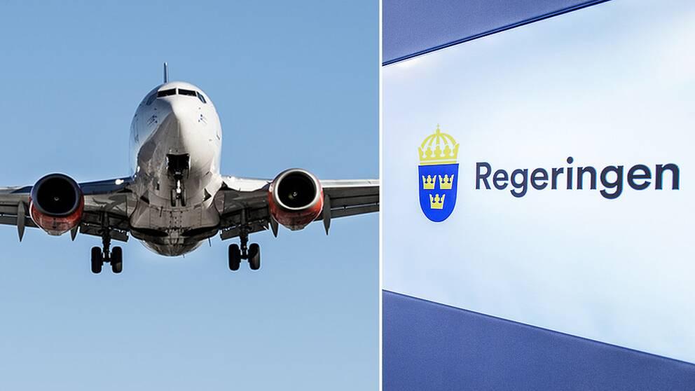 Ett flygplan och en Regeringenskylt.
