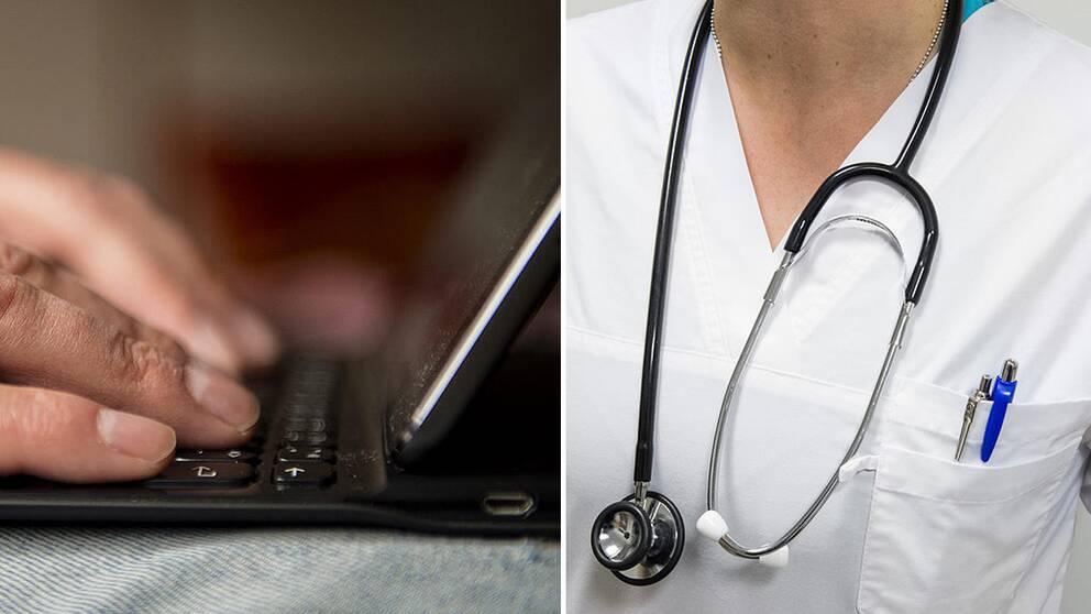 Ett par händer vid ett tangentbord på en dator och ett stetoskop.