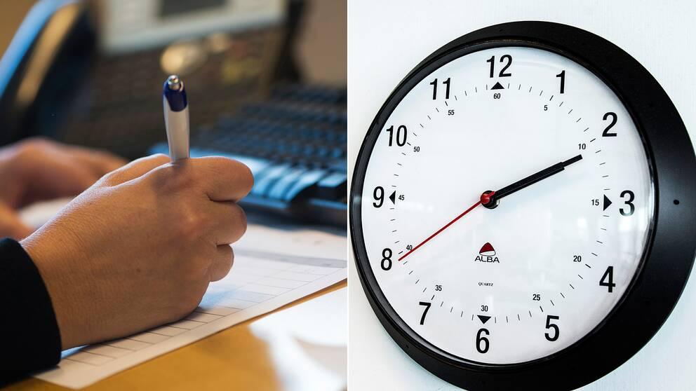 någon som skriver och klocka