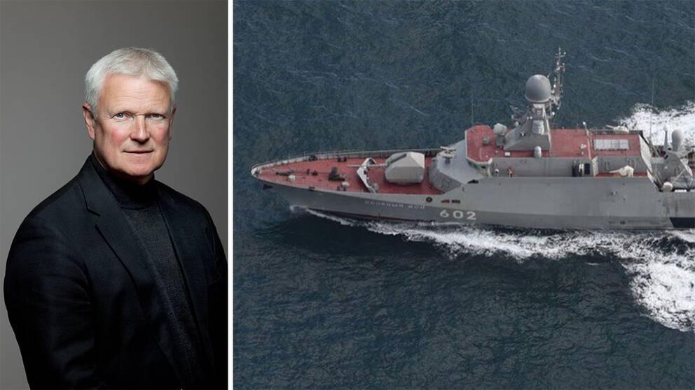 Vänster: Försvarsexperten Tomas Ries. Höger: Den ryska korvetten Zeleny Dol